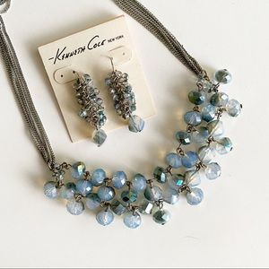 Kenneth Cole Necklace Earring Set Silver Crystal